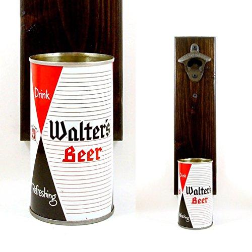 Barware Gift Idea Wall Mounted Beer Bottle Opener With A Walter's Beer Can Cap Catcher ()