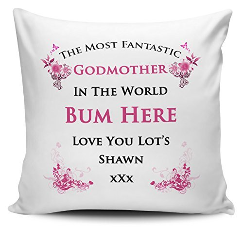 OneMtoss Decorative Inspirational Quotes Pillow Cover Personalised The Most Fantastic Godmother in The World Cushion Cover Pillow Case 22X22 ()