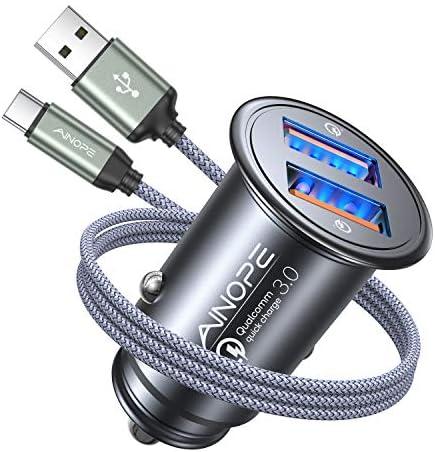 AINOPE Zigarettenanzünder USB Ladegerät, [Dual QC3.0 Port] 36W/6A Kfz Ladegerät, Metall Qualcomm Auto USB Adapter mit 1M Nylon USB Type C Ladekabel für Samsung Galaxy S10 S9 S8,Note9/8,LG G6 V30