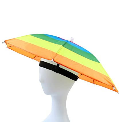 8447af928ce14 JANGANNSA Funny Umbrella Hat Adult and Kids Folding Cap for Beach Fishing  Golf Party Headwear (