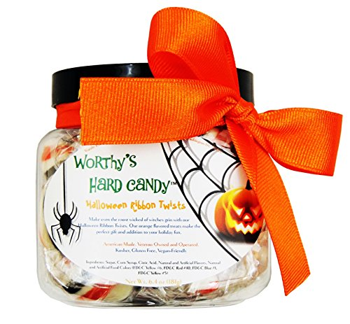 [Worthy's Halloween Ribbon Twists Individually Wrapped Hard Candy Jar] (Hard Halloween)