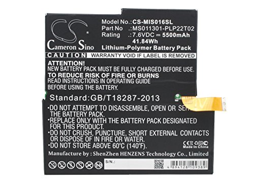 Cameron Sino Li-Polymer 7.60V 5500mAh / 41.80Wh Tablet Battery Compatible With Microsoft 1577-9700/MS011301-PLP22T02, Fits Surface 3, Surface Pro 3, MQ2-0000, 4YM-00001 by Cameron Sino