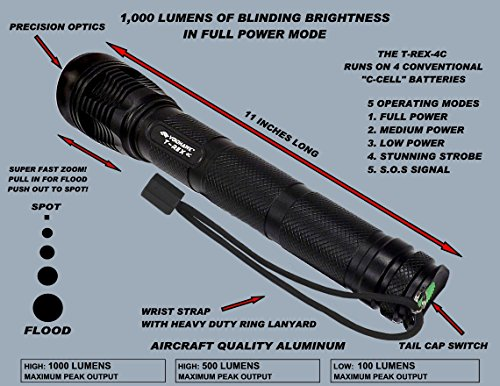 T-REX-4C CREE® XM-L2 U2 1,000 Lumen 4 C-Cell powered LED flashlight