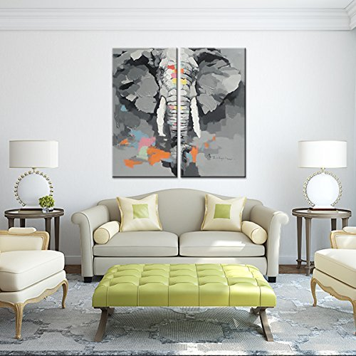 Animal Canvas Print Wall Art Elephant Abstract Oil Painting Modern Canvas Poster Artwork For Home Living Room Bedroom Office Decoration Framed Easy To Hang Gift
