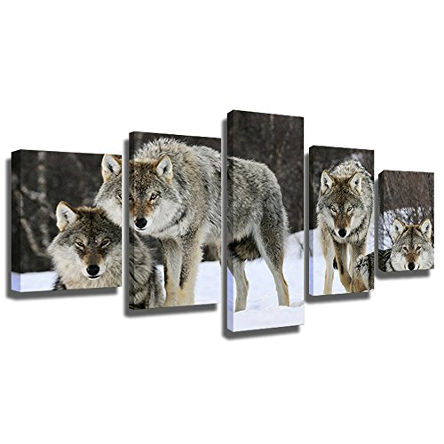 CrmArt 5 Panel Wall Art Painting Wolf in Snow Storm Forest in Winter Prints On Canvas Animal The Picture Decor Oil for Home Modern Decoration Print(60