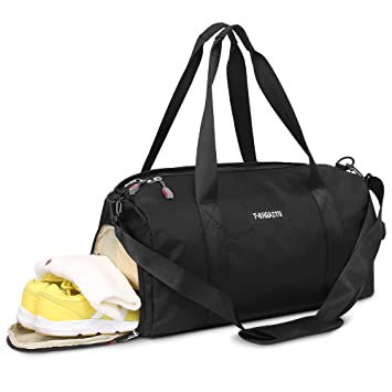 b44af0cc5a6a Sports Gym Bag with Wet Pocket & Shoes Compartment Waterproof Swim  Overnight Travel Duffel Bag for Women and Men 20-35L (black)