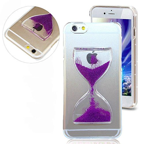 Apple iPhone 6 Plus / 6s Plus Hourglass Wine Glass 3D Liquid Floating Pearl Quicksand Waterfall Shell [Hard PC + Gel Inner] Impact Protection Hybrid Thin Shockproof by Tech Express (Purple) - Waterfall Wine