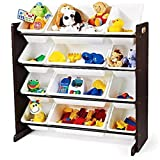 Great Removable Expresso & White Toy Storage Organizer with 12 Plastic Bins