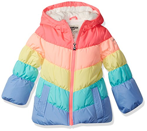 Osh Kosh Baby Girls Perfect Colorblocked Heavyweight Jacket Coat, Rainbow, 18M by OshKosh B'Gosh