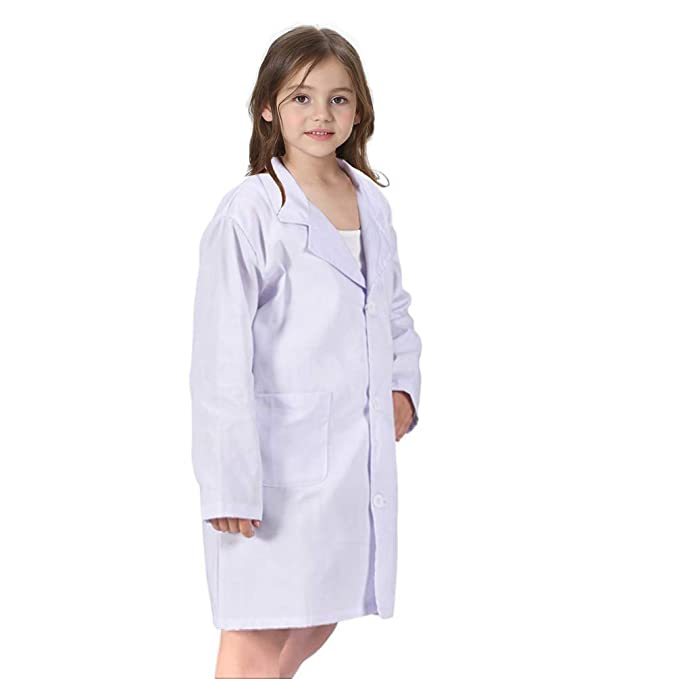 Calormixs America Kids Unisex Doctor Lab Coat Childrens Doctor Scrub Set Role Play Costume Dress Up For Christmas Halloween