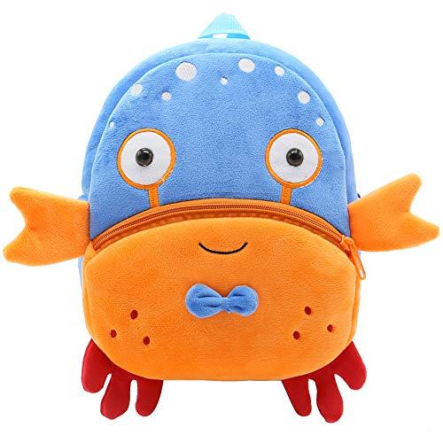 LETSP Animal Series Cute Cartoon Animal mochila infantil mochila escolar de felpa Camping mochila de viaje, Cangrejo,...