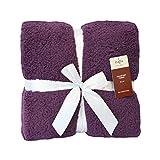 "Napa® Luxury Shu Velveteen Throw Blanket, Soft Blankets for Adults, All Seasons Plush Blanket, Cozy Reversible Fuzzy Blanket, Best Gift for Women, Purple, 50"" x 60"""