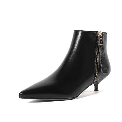 5de80763cdda Nine Seven Women s Closed Pointed Toe Low Stiletto Heel Handmade Bootie -  Side Zipper - Comfortable