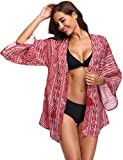 Giorzio Women 3/4 Sleeve Swimwear Cover Ups Pattern Loose Lady's Bathing Suit Cardigan Blouse, Red, Large