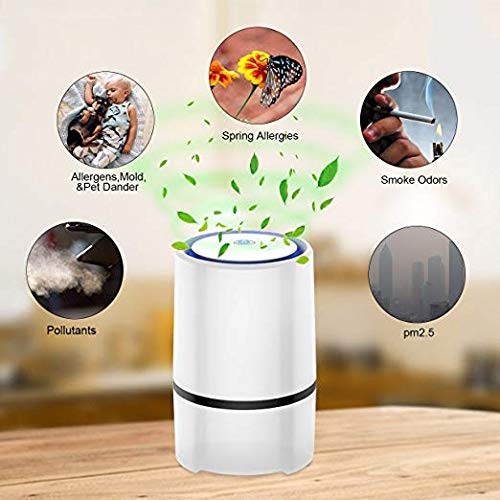 Upperx Desktop Air Purifier with 2 True HEPA Filters, Portable Air Ionizer with Night Light, Allergies Eliminator for Pollen, Dust, Mold, Pet Dander, Smoke and Odors Air Purifier for Home and Office by Upperx (Image #2)
