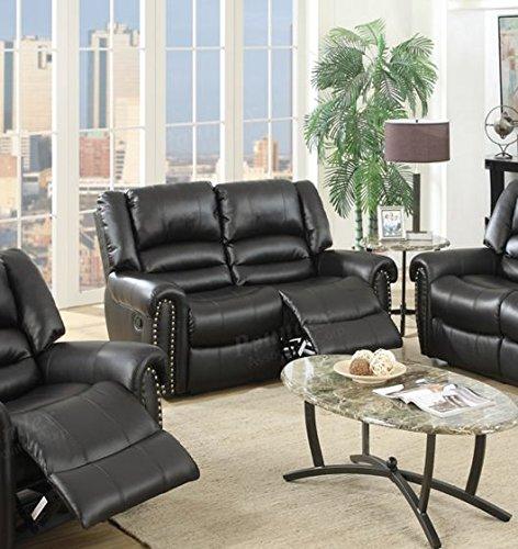 Poundex Velenje Motion Sofa Set in Black Bonded Leather