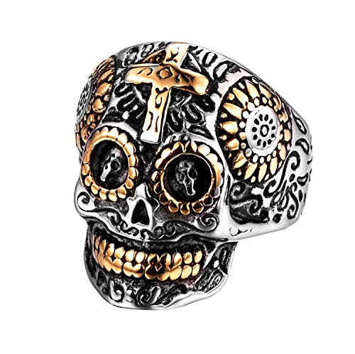 Rinspyre Stainless Steel Gothic Cross Sugar Skull Rings for Men Vintage Biker Band Flower Carved Halloween Jewelry Silver Size 12]()