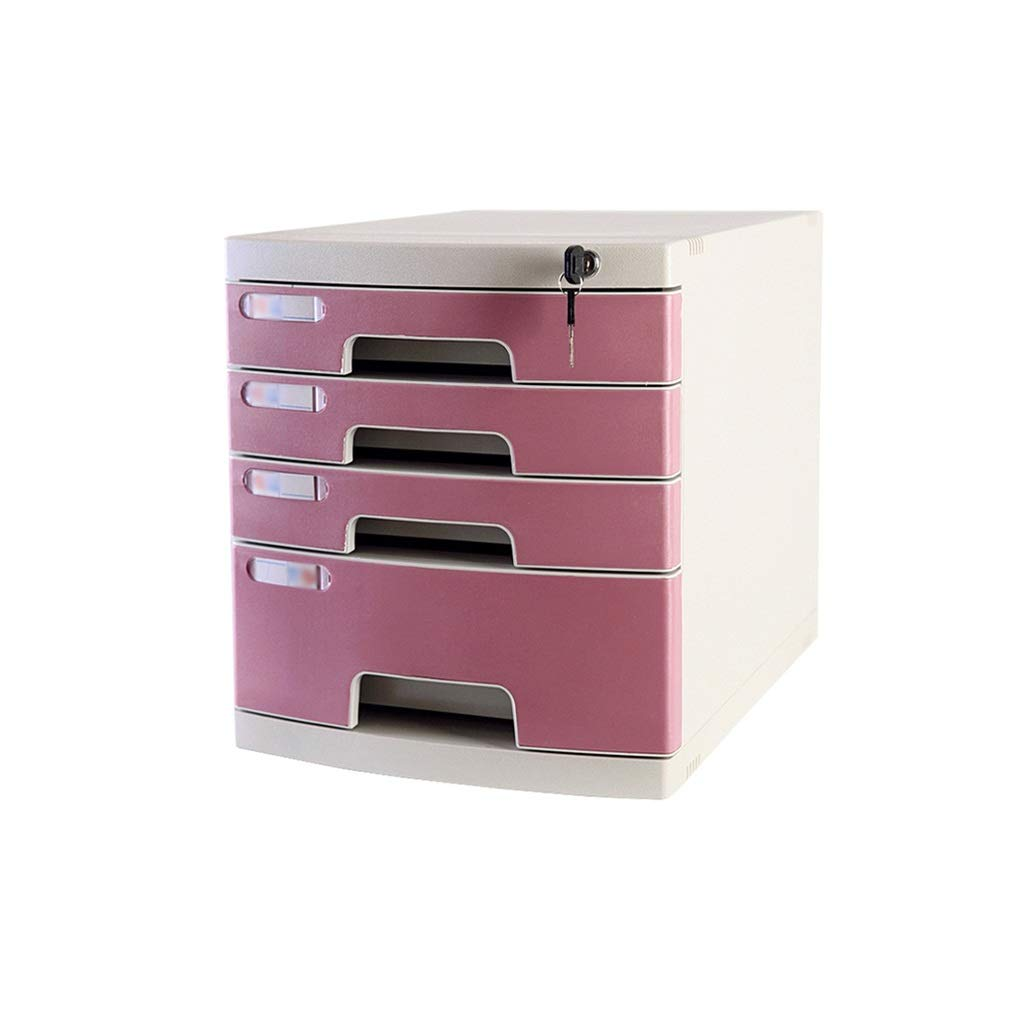Flat File Cabinet, Drawer Organizer Large 4-Layers Lockable with Blank Label Environmentally Friendly Plastic (29.539.432.5cm) (Color : C1)