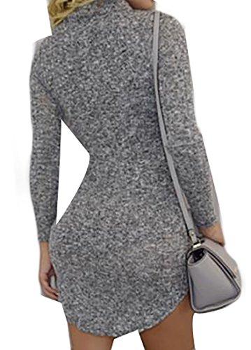 Cruiize Col Haut Gris Irrégulier Mini Robe Solide À Manches Longues De Base Des Femmes