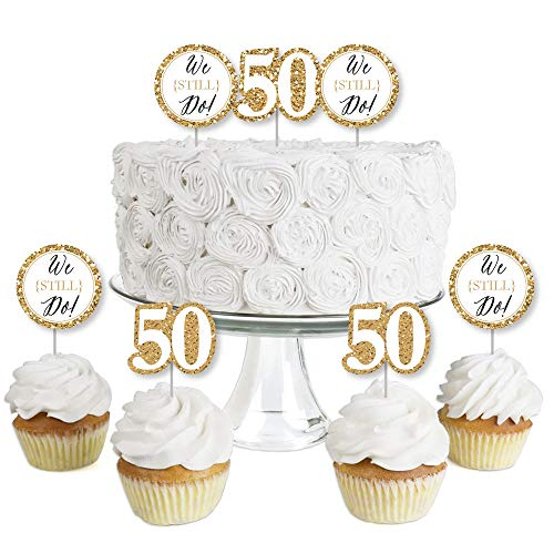 We Still Do - 50th Wedding Anniversary - Dessert Cupcake Toppers - Anniversary Party Clear Treat Picks - Set of 24 ()