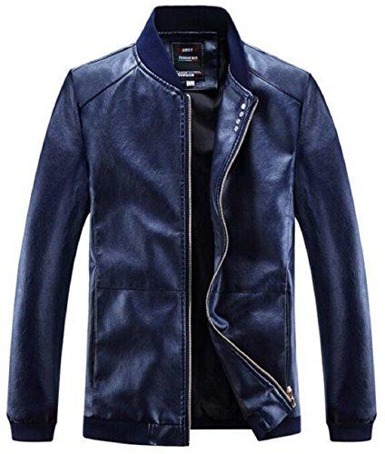Olrek Men's Fashion Leather Jacket(Navy Blue,L Size) (Jackets Navy Us Blue)