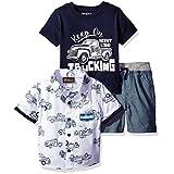 Nannette Baby Boys' 3 Piece Button Down Shirt Tee and Short, Truck Blue, 18M