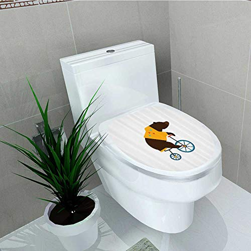 Printsonne Bathroom Toilet Teddy Circus Riding Bicycle Trendy Hipster Costume Animal Vinyl Decal Sticker W13 x L13 for $<!--$16.99-->