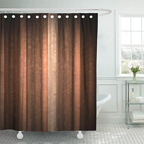 Emvency Shower Curtain Polyester 72x72 Inches Brown Earth Orange Copper and Pale Peach Abstract with Cool Glass and Vintage Stripe Design Pink Waterproof Adjustable Hook Bathroom
