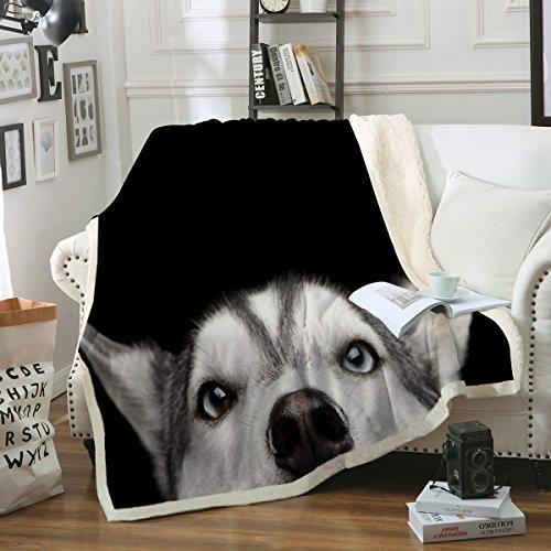 husky dog throw blanket black