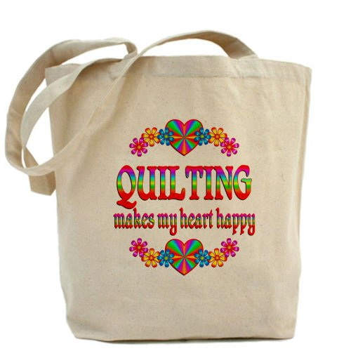 Cafepress–quilting Happy–Borsa di tela naturale, tessuto in iuta
