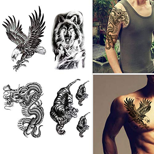 Large Temporary Tattoos Waterproof Fake Tattoo Realistic Eagle Wolf Tiger Dragon Animal Shaped Body Tattoo Stickers for Men Adults Boys Guy (Black, 4 Sheets)