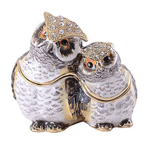 Jiaheyou Owl Bejeweled Trinket Box Gold Jewelry Box Bird Miniature Owl Decor Gifts Her ()