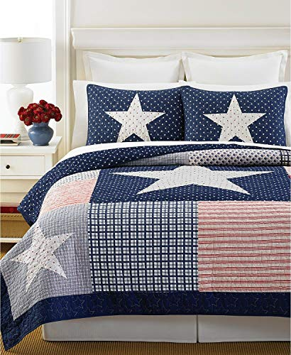 MARTHA STEWART Collection Lone Star Reversible Quilts Size King Medium red ()