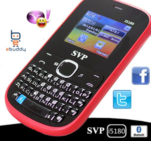 Black Dual SIM Quadband SVP I5180 with QWERTY Keyboard (Unlocked) - Bluetooth, Camera, FM/MP3/MP4/AVI, GPRS, WAP