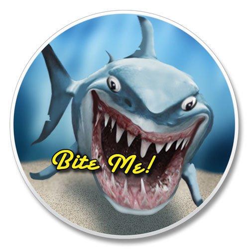 (Highland Home Absorbent Stoneware Single Car Coaster -Shark Bite Me)