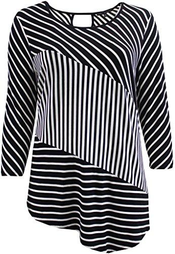 Women's Plus-Size Round Neck Assymmetrical Striped Keyhole Tee Knit Top Black 2X G160.09L-2