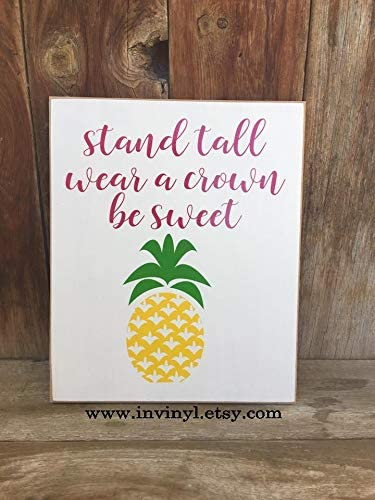 Be a Pineapple Stand Tall Home Plaques Decor Wooden Heart Motivational Plaque