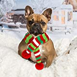 Blulu 2 Pieces Christmas Pet Knit Scarf Dog Winter Striped Scarves Xmas Pet Costume Accessories (M Size)