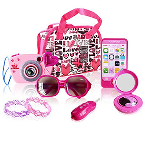 (WenToyce My First Purse Pretend Role Play Beauty Set for Girls, with Storage Bag, Cell Phone, Car Key, Play Lipstick, Sun Glasses, Camera, Compact & Bracelet, 9 Pcs Educational Toy)