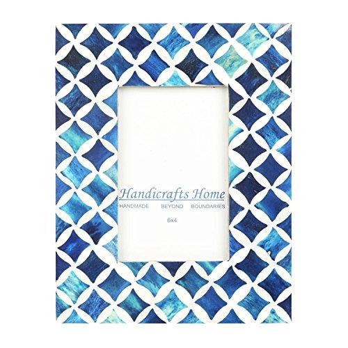 Bone Handicraft (Handicrafts Home 4x6 Photo Frame Blue White Bone Mosaic Moroccan Picture Frames)