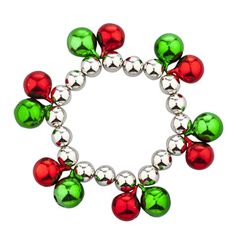 Plated Bracelet Silver Stretch Beaded (Lux Accessories Silvertone Christmas X-Mas Holiday Double Jungle Bells Bracelet)