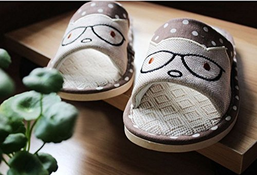 tm Qualità scivolo pantofole Premium Lino Colore Di Marrone Da Bronzo Casa Volte coppia caffè Unisex Anti xqw5PXR8