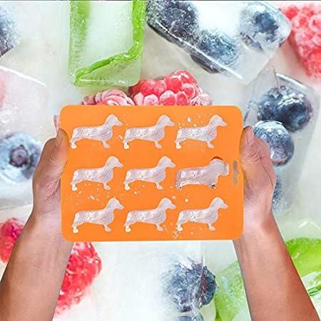 Bandeja para cubitos de hielo de silicona Dachshund, bandejas de congelador, mejores bandejas de hielo para perros, congelador, alimentos para bebés, agua, whisky, cócteles y otras bebidas, naranja