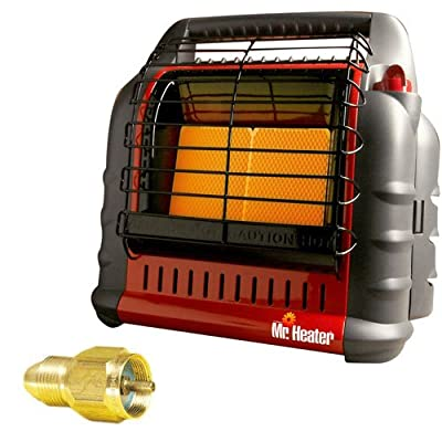 """Mr. Heater MH18B California Approved """"BIG Buddy"""" Indoor Safe Propane Heater + Propane One Pound Tank Refill Adapter"""