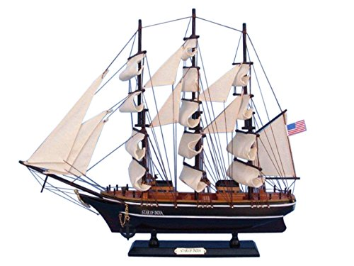 Hampton Nautical Wooden Star of India Tall Model Ship, 24""