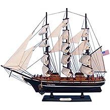 "Hampton Nautical Wooden Star of India Tall Model Ship, 24"""