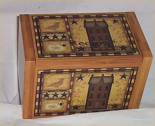 Folk Art House - Wood Recipe Box Bamboo Primitive Kitchen Decor Folk Art House Home Decor