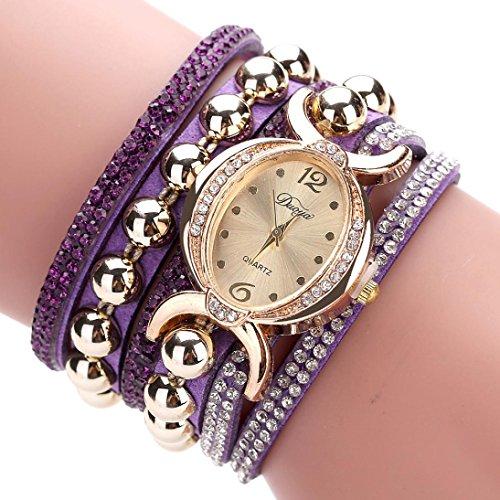 - Hunputa Fashion Crystal Diamond Multi Layers Fine Leather Bracelet Rhinestone Rivet Balls Lady Womens Wrist Watch Gift (Purple)