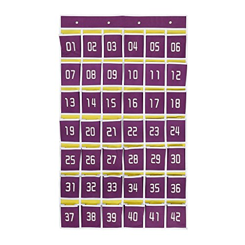 Hipiwe Numbered Classroom Organizer Pocket Chart for Cell Phones Calculator Holders with Hooks (42 pockets purple)