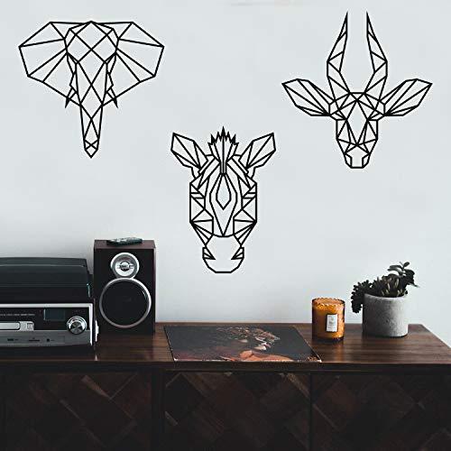 Set of 3 Vinyl Wall Art Decals - Geometric Safari Animal Heads - from 18